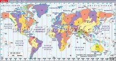 #World #TimeZone #map displays the standard time zones around the world.