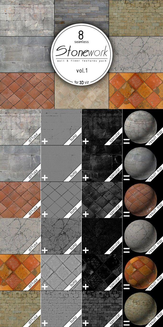8 stone seamless HD textures. 3D Textures & Materials