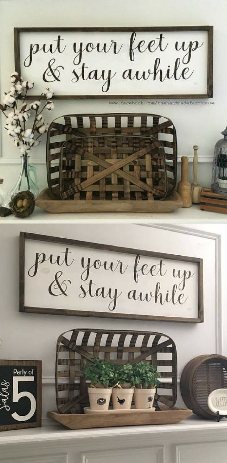 Put Your Feet Up & Stay Awhile, Custom Home Decor, Farmhouse Style Decor, Farmhouse sign, Living room decor, gallery wall, Entryway decor, Rustic sign, Rustic decor, gift idea #ad #rustichomedecor