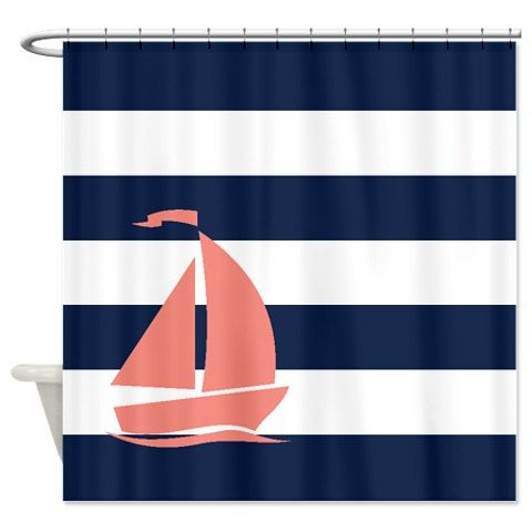 Nautical Shower Curtain Navy Blue And White By GatheredNestDesigns