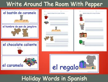 Print and post Pepper's Holiday cards around the room for students to find. Students write the holiday words next to the matching pictures on their printed sheets.  For English or French go here.Pepper will be adding to this product in the future.  If you purchase this product, Pepper will let you know via a TpT product update when to come back later to download Pepper's additional word cards and sheets for free!Half the proceeds from this season's sales will be going to local rescue dogs…