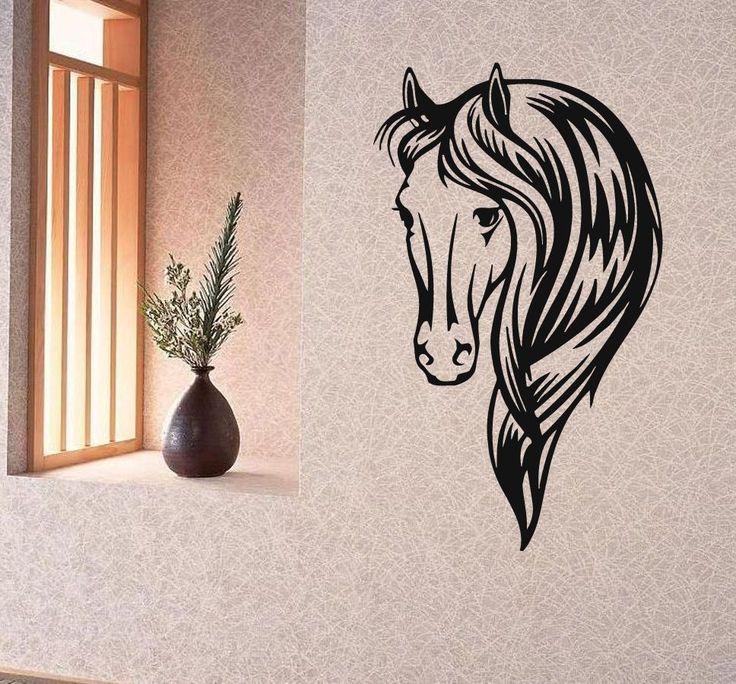 wall decals vinyl decal sticker art murals bedroom decor animals horse head kj24 17 best - Horse Bedroom Ideas