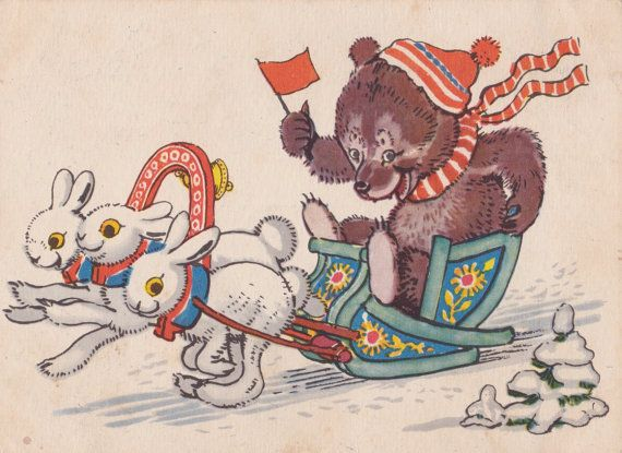 Postcard Drawing by A. Laptev  1958. by RussianSoulVintage on Etsy
