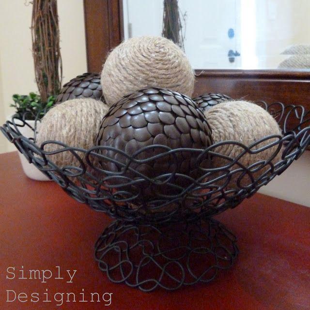 DIY decorative balls: tack ball, made with styrofoam ball and thumbtacks or twine
