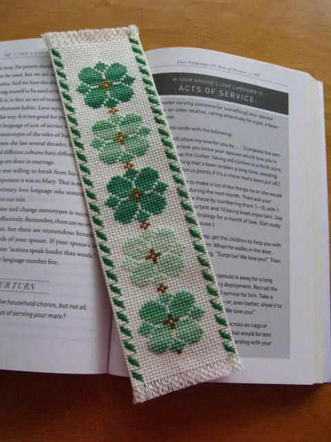 Hand-Stitched-Completed-Cross-Stitch-Bookmark GREEN-LUCK