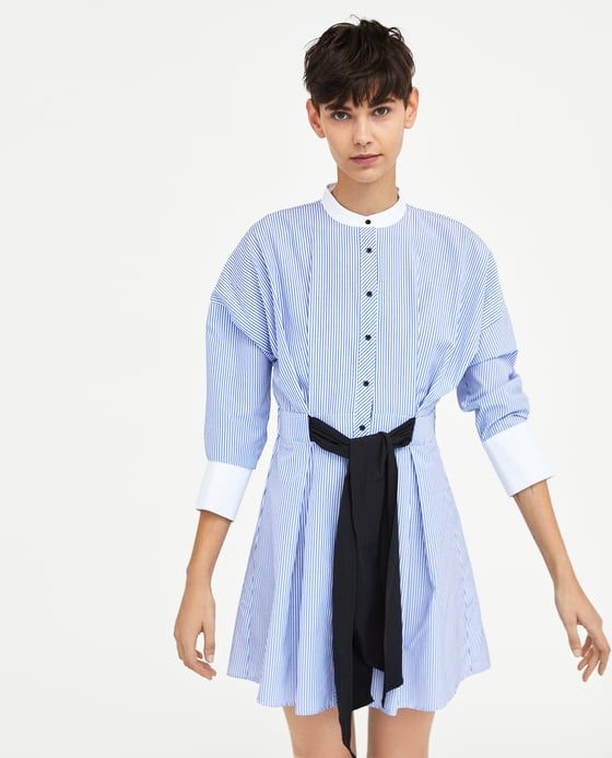 0c1fc68d33 STRIPED DRESS WITH BOW from Zara #zara #newarrivals #spring #summer #fashion  #editorials #shirt #dress #bow #stripes #casual