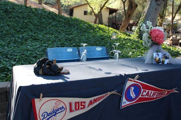 Vintage Baseball Wedding Sweetheart Table, Dodger Seats, Catchers Mask, Pennants