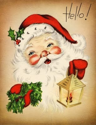 "Vintage Santa says ""Hello!"". Vintage Christmas card→ For more, please visit me"