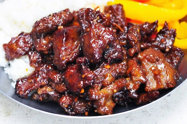 Crispy Beef with Sticky Orange Sauce Recipe Main Dishes with steak, coconut aminos, arrowroot starch, oil, arrowroot, fresh orange juice, molasses, rice vinegar, garlic, fresh ginger, orange rind, green onions, red pepper flakes