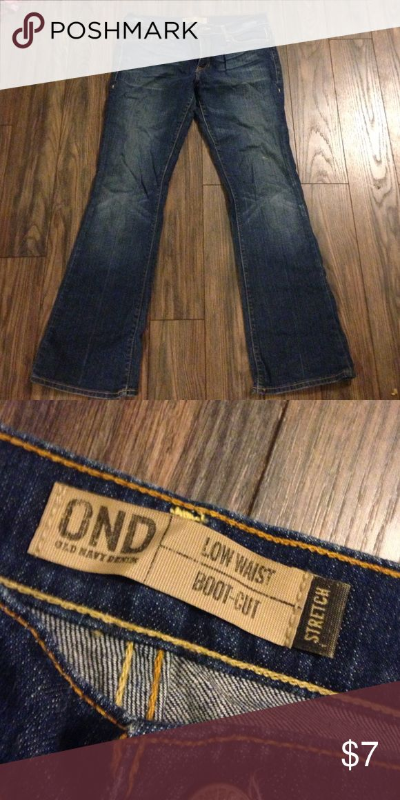 Old Navy boot cut low waist jeans Dark blue w/ some intentional fading Old Navy Pants Boot Cut & Flare