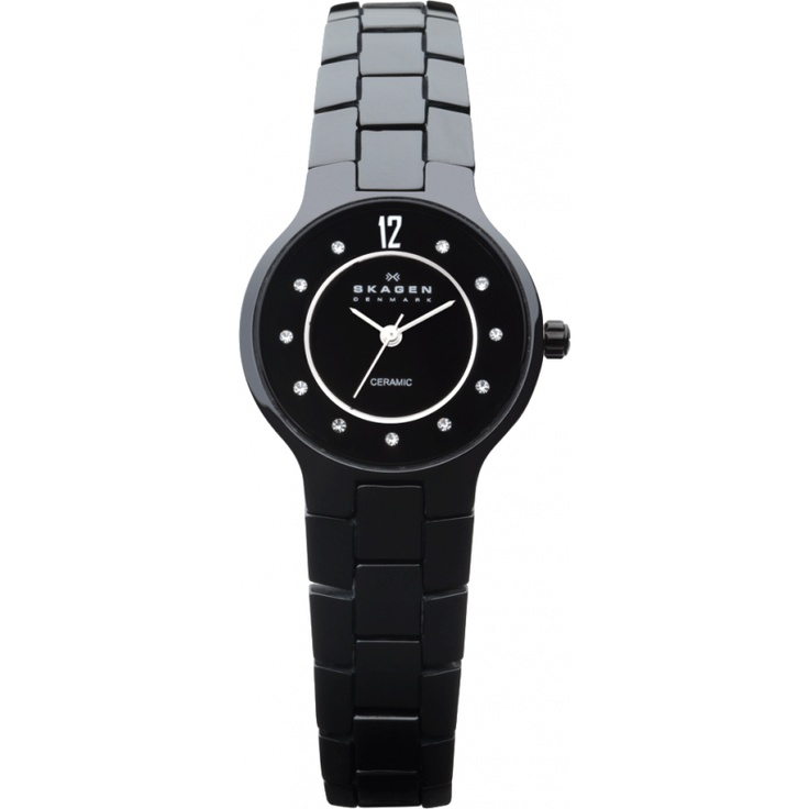 Skagen Ladies Black Dial Black Ceramic Watch 572SBXBC
