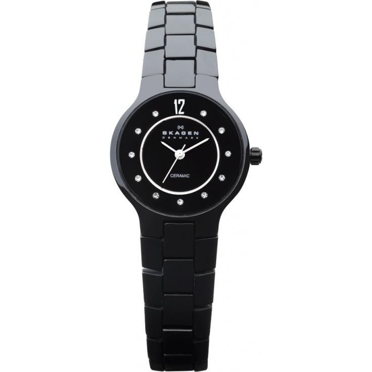 Skagen Ladies Black Dial Black Ceramic Watch 572SBXBC