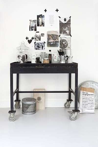 I love everything...the industrial trolley, the moodboad, the paper bag from MERCI