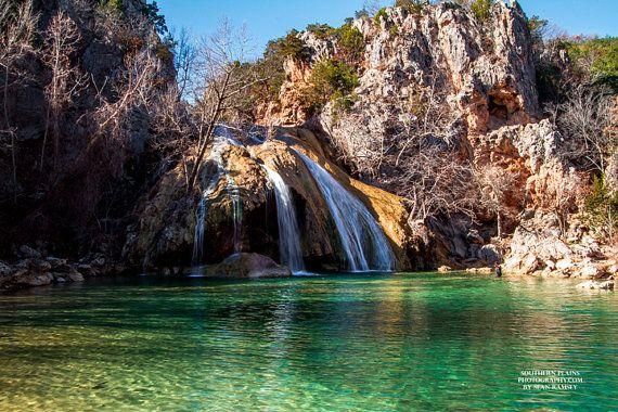 Waterfall Photography, Oklahoma Travel Print, Waterfall Print, Turner Falls, Waterfalls, Oklahoma Photos, Colorful Scenery, Sooner Scenery