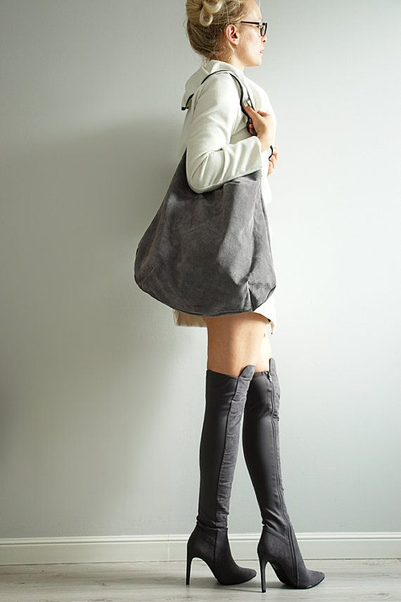 Soft Grey Large  Hobo Suede Hobo Bag by PansyBag on Etsy