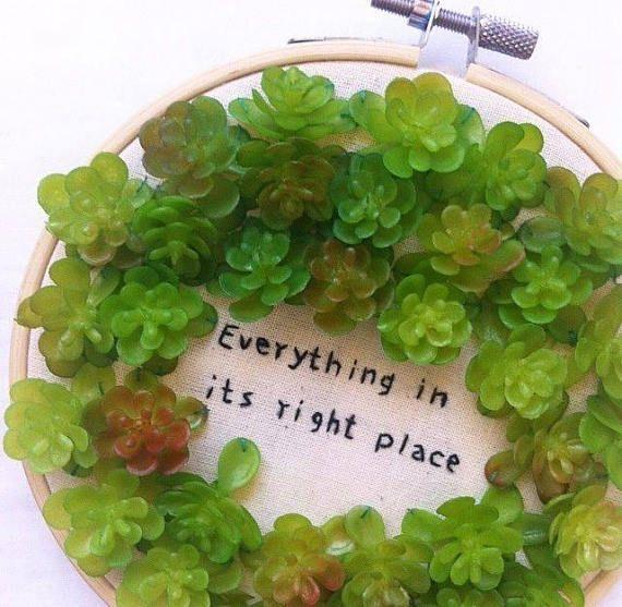 Radiohead lyrics / Succulents /Botanical wall art / Plants
