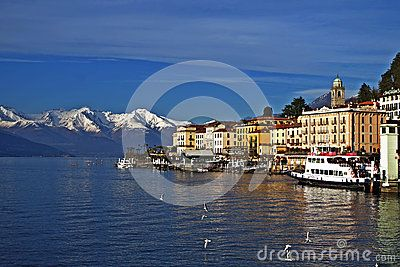 Panorama of Bellagio, on Como Lake, with snow-capped mountains