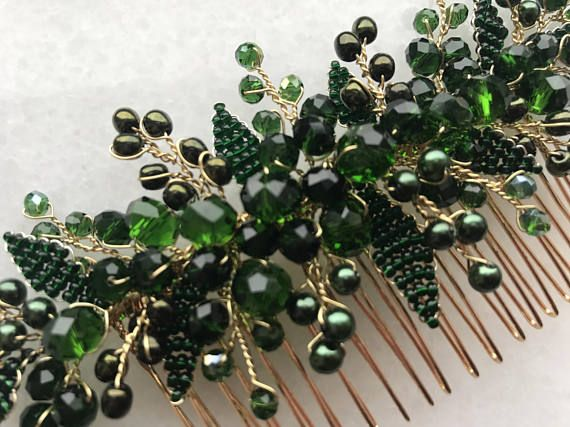 Beautiful hair comb in floral design will be best addition for your wedding hair style. Special design! Ready to ship! Made with: handmade leaves, glass beads, gold color wire and hair comb. Fully handmade. For any questions please contact, I will be happy to help you! Thank you for