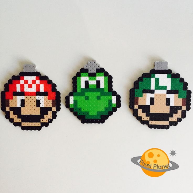 Super Mario Bros. - Perler Beads Sprite Ornaments Set (Mario, Luigi and Yoshi) by PixelPlanetShop on Etsy