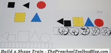 #Transportation Theme Activity for #preschool and #kindergarten - Build a Shape Train