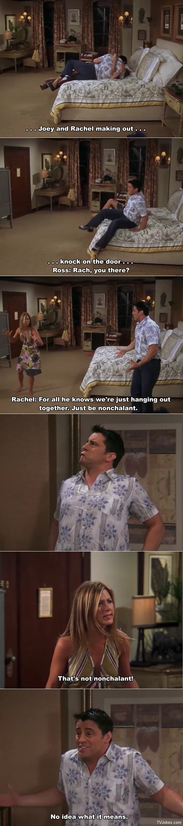 Joey and Rachel making out in Barbados.