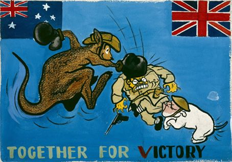 WW1 British poster emphasizing the joint effort of Australia and Britain