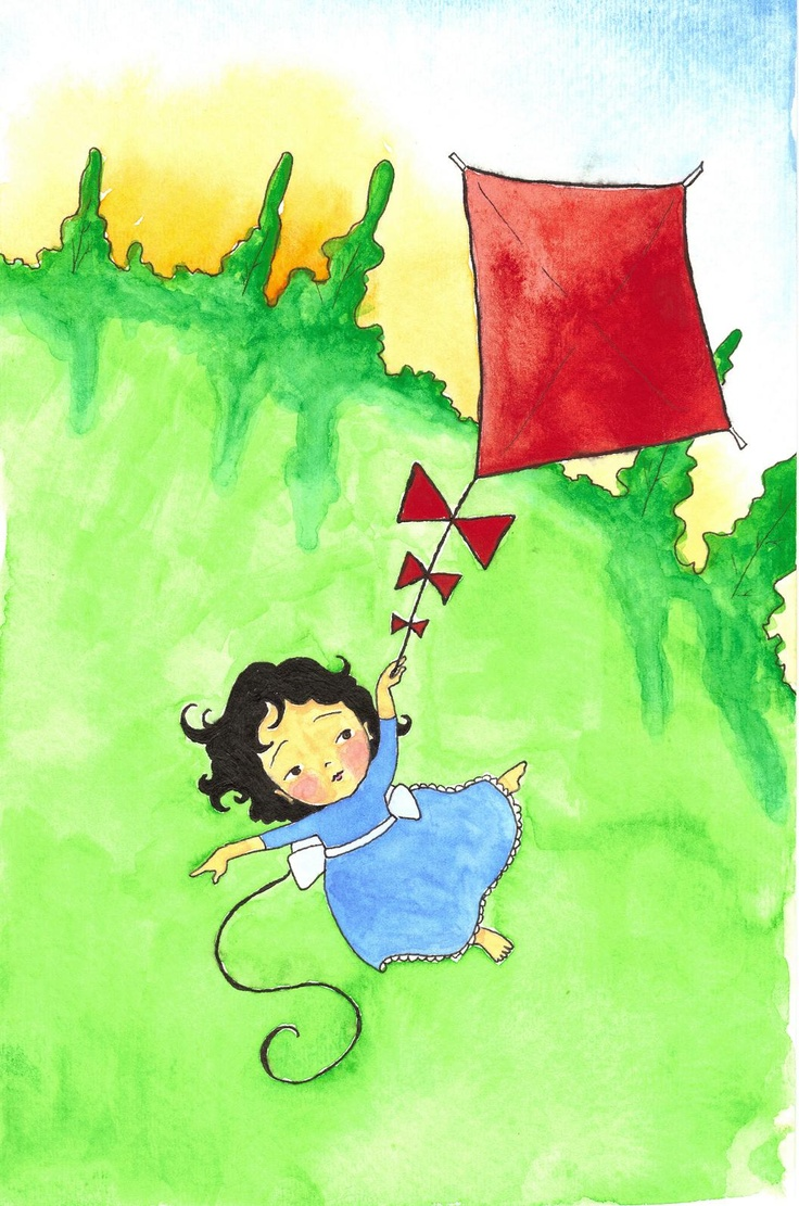 'Girl and her red kite'. Simple, nicely composed piece of art. T.P. (my-best-kite.com)