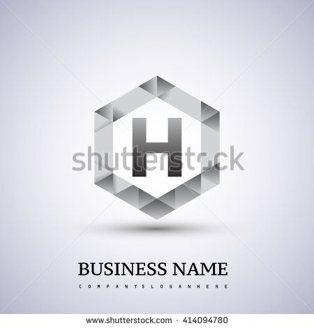 H Letter logo icon design template elements on hexagonal. - stock vector