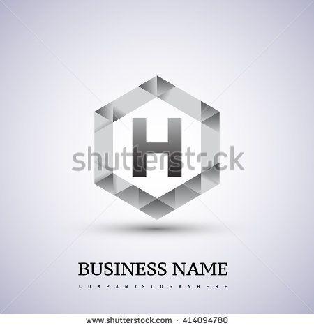 H Letter logo icon design template elements on hexagonal. - stock vector