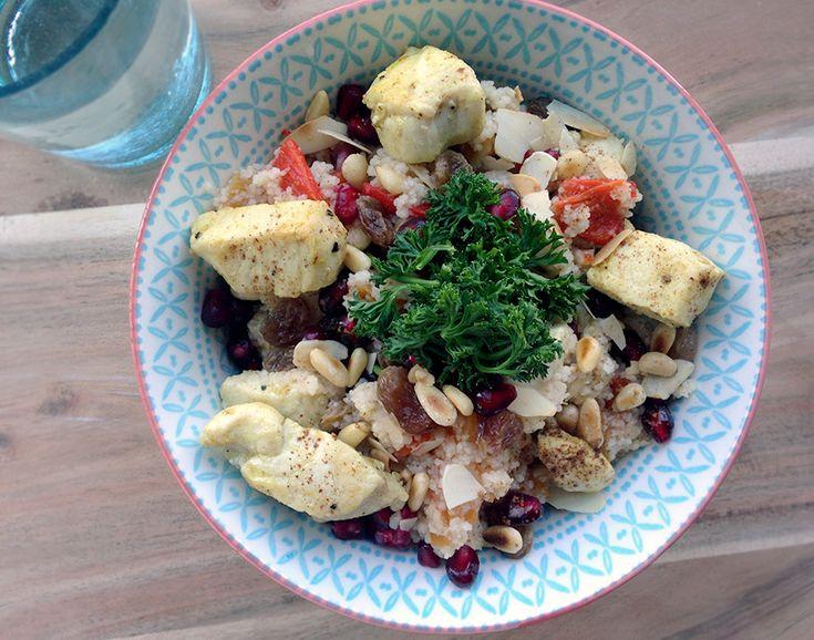 Culy.nl - Culy Homemade: couscous met kip, abrikoos, amandel & granaatappel -