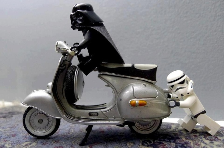 a little bit of help darth vader getting a bump start on his karillion vespa, come on eric i dont want to be late for my date with the receptionist on the death star...funny scifi geek lego diorama star wars photo