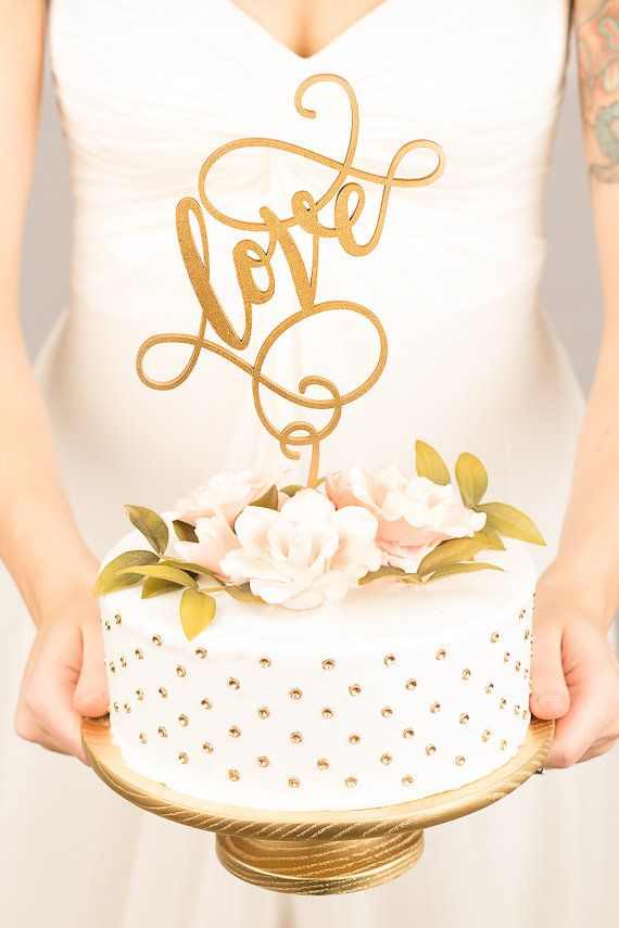 Seriously stunning cake toppers! Shop more than 100 unique, hand lettered designs at www.betteroffwed.co wedding cake
