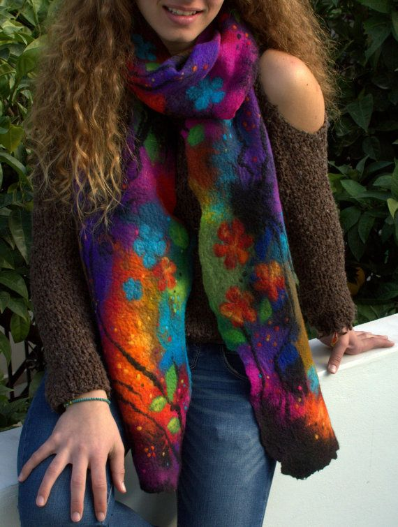 Felted colorful scarf women's scarf felted multicolor flowers