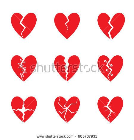 Broken Red heart icon set. Tragedy, drama concept