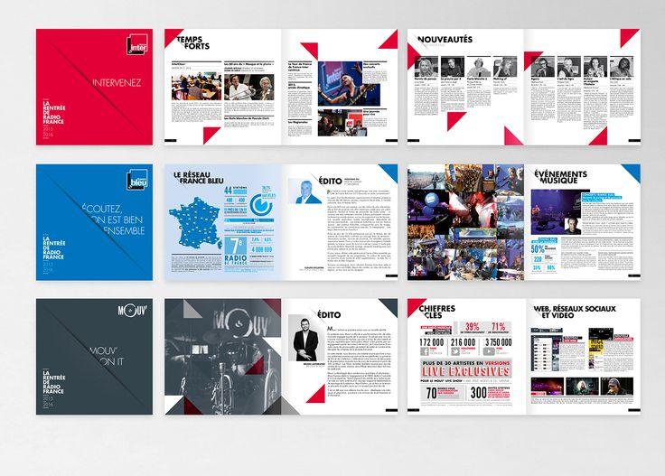 Création et réalisation des dossiers de presse France Inter, France Bleu et Mouv' pour la rentrée 2015-2016.210 x 210 mm - imprimé par la reprographie de radio france
