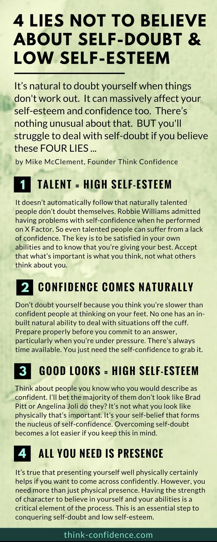 How to build self-esteem and overcome self-doubt. Lies not to believe and practical tips to try out. #selfesteem #confidence #infographic #steps #tips