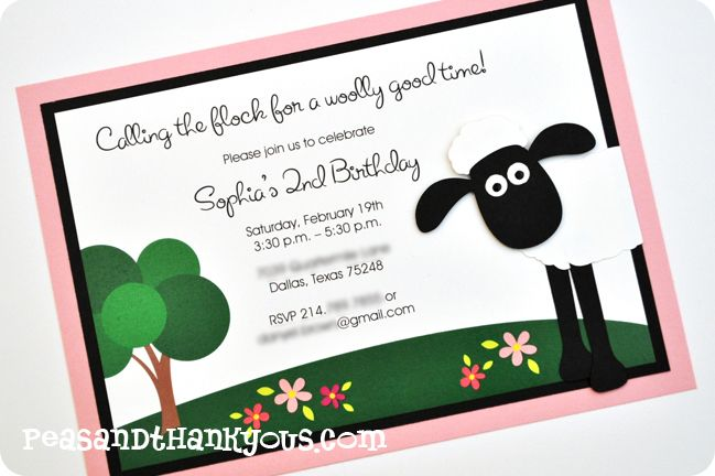 Shaun the Sheep Invitation- Inspiration for Mae's Shaun the Sheep theme 1st Birthday Party.