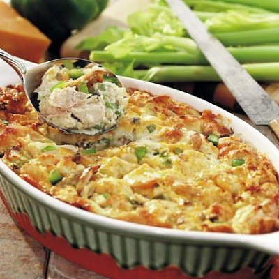 Chicken Strata, maybe try with yogurt rather than mushroom soup.