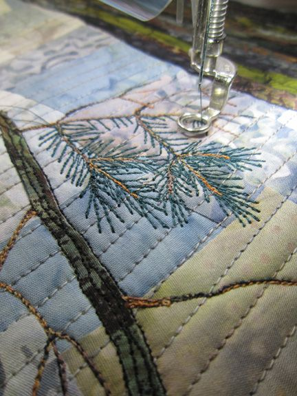 Barbara Strobel Lardon Art quilts: Pine Needles - how to's as well