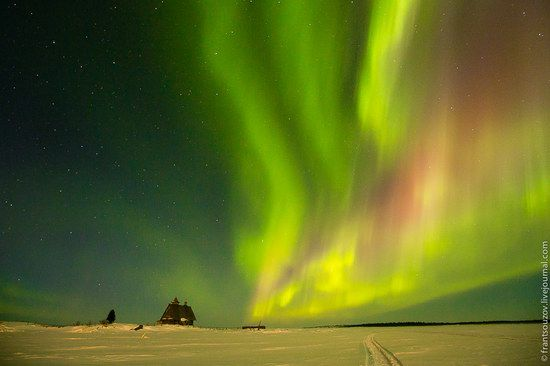 Karelia Republic is located in the north-western part of Russia. A large part of the region is above the Arctic Circle and at night in the sky you can see fascinating pictures of Aurora Borealis