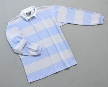 Mns Hoop Stripe Rugby Light Blue Gray