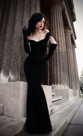 Black Velvet Dress Long