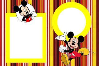 Tarjetas para imprimir gratis de Mickey Mouse con fondos en rayas y lunares, en rojo, negro, blanco y amarillo.