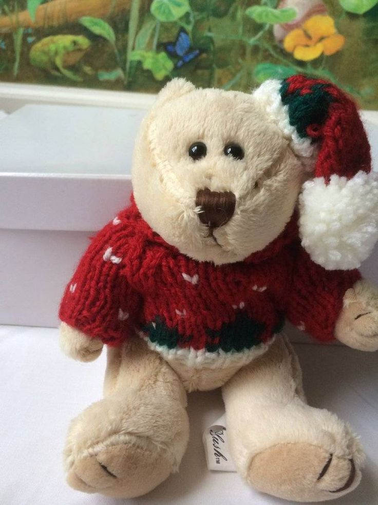 Chrisha Playful Plush Teddy Bear in Red Christmas Sweater and Hat 2004 Small