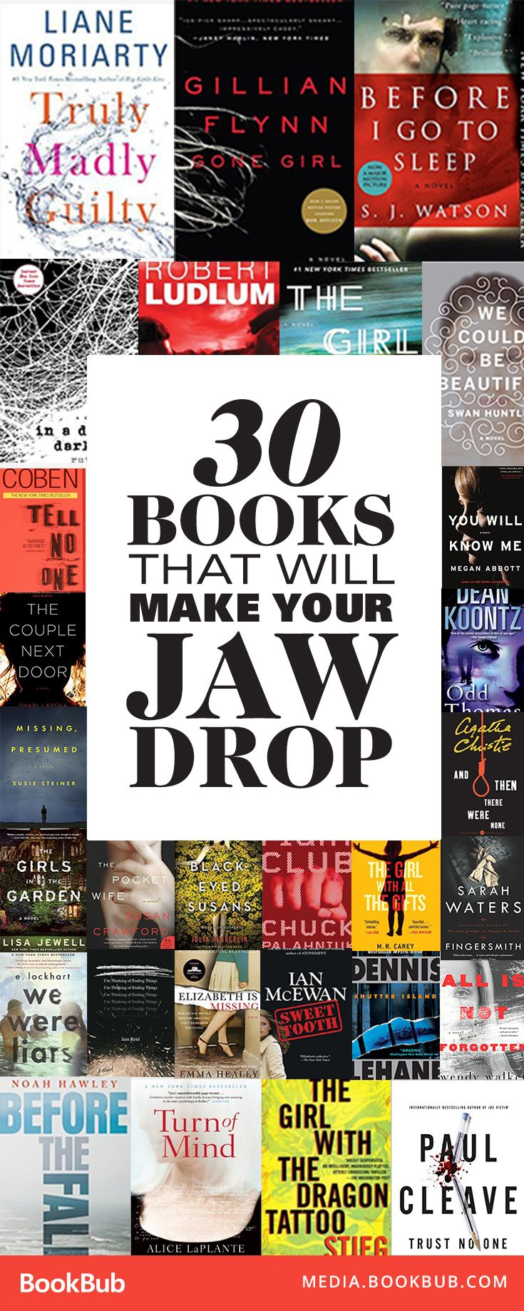 30 books that will make your jaw drop, including bestselling psychological thrillers and thriller books with plot twists with plenty of suspense.