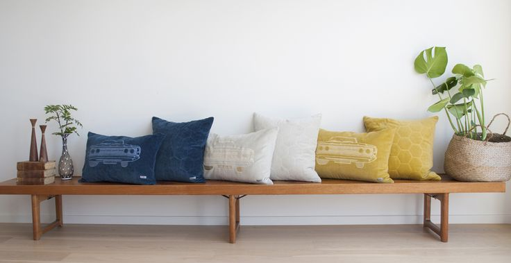 A range of funky velvet pillows