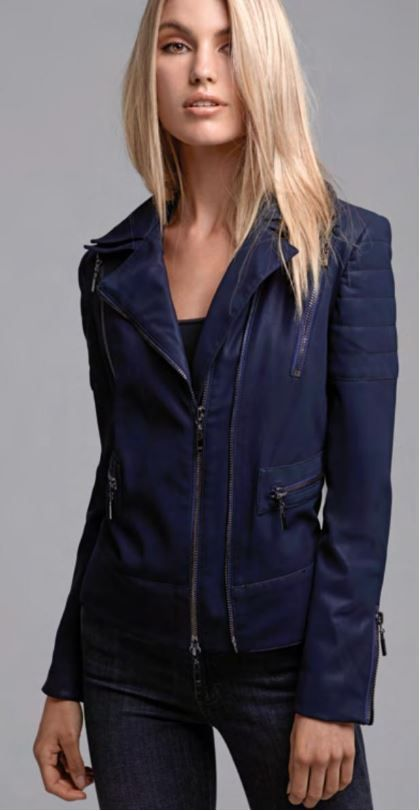 Alberto Makali Faux Leather Jacket with Zipper Trim
