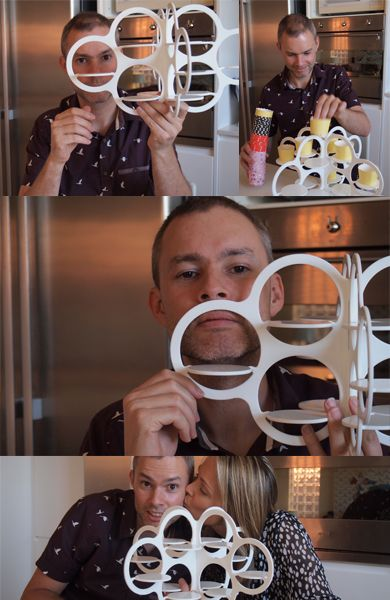 Stephen Procter, the designer of the Cakesnake - storage rack for bakeware and the Cupcake Cloud, modern cupcake stand.