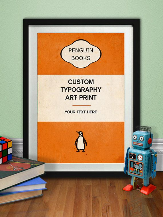 Penguin Book Cover Personalised : Custom typography art print penguin classic poster