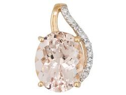 Cor-de-rosa Morganite 2.76ct Oval With Diamond Accent Round 10k Rose Gold Pendant
